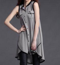 Women chiffon dress sleeveless dress linen by GracefulClothing, $59.00