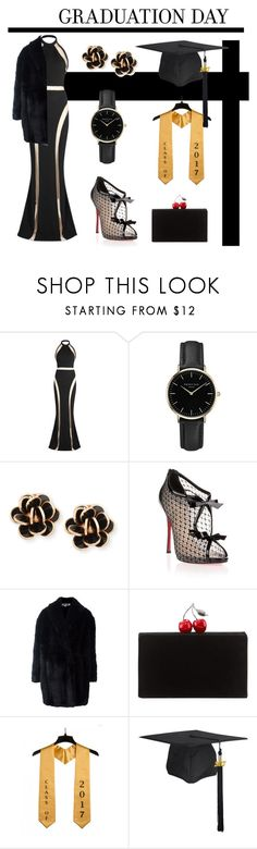 """Black and Gold themed graduation outfit, 2017"" by s-fiamaria ❤ liked on Polyvore featuring Balmain, ROSEFIELD, Chantecler, Christian Louboutin, Alexander McQueen and Edie Parker"