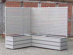 Pflanzkasten Holz Ecke mit Sichtschutz, Transparent Geölt Grau
