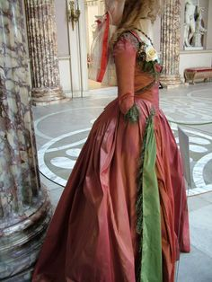 Keira Knightley Drunken Dress costume side view in 'The Duchess', 2008. Late 18th Century Georgian costumes by Michael O'Connor.