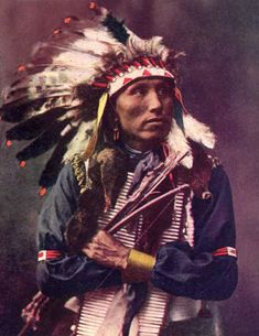 James Lone Elk, Oglala Sioux, nephew of American Horse (the older). Photographed c.1902. (Colorized)