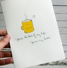 Items similar to Lady Latte hand drawn coffee themed Valentine card on Etsy