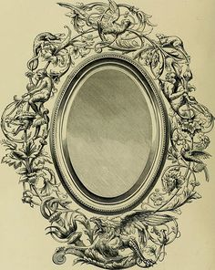 World's Fair of 1876 : Mirror by Emile Philippe, illustrated in Earl Shinn, The masterpieces of the Centennial international exhibition of Ancient Greek Words, Exhibition Building, Architectural Antiques, The Masterpiece, World's Fair, French Artists, Philadelphia, Bronze, Mirror