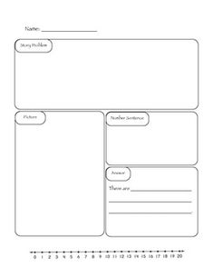 This is an easy way to help students organize their math thinking. It can be used for one or two step addition and subtraction story problems with answers up to 20. Simply write a story problem for students to solve and demonstrate how to use the boxes.