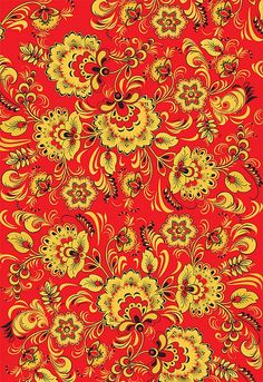 Folk Khokhloma painting from Russia. A floral pattern in red, black and golden colours.