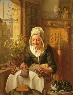The Old Lacemaker, 1844 (panel), Dyckmans, J.L. (Gererd Doubelge) (1811-88) / Haynes Fine Art at the Bindery Galleries, Broadway / The Bridgeman Art Library