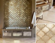 This is it. Moroccan tile with elegant twist. Gold, pewter, and silver compliment for a glamorous finish.