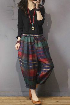 Buy British Style Vintage Plaid Pants Cotton Linen Harem Trousers Womens in Pants online shop, Morimiss offers Pants to make you feel comfortable Harem Trousers, Trousers Women, Pants For Women, Clothes For Women, Plaid Pants, Skirt Pants, Harlem Pants, Girl Trends, Summer Outfits Women