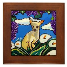 """MEXICAN FOLK ART PAINTING- """"CHIHUAHUA WITH GRAPES"""" Framed Tile  Frame measures 6"""" x 6"""" x 0.5"""", with 4.25"""" x 4.25"""" tile  Constructed of stained Cherrywood  Two holes for wall mounting  The artwork is based on my series of Mexican Folk Art painti..."""