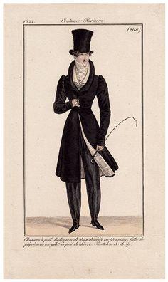 Top hat, Coat, and Riding crop ~ Journal des Dames et des Modes, 1822.