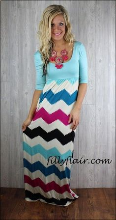 modest chevron maxi dress...love this outfit. Necklace is gorgeous also. I want one with sleeves like this! - Art