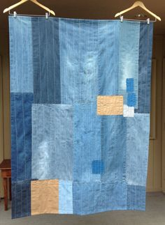 """Hand-sewn denim and linen patchwork throw 50""""x70"""" made from recycled clothing"""
