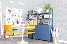 Emily Henderson Devine Color Tempaper Temporary Wallpaper Studio Makeover Blue white and black Organization 1