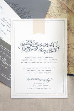 Peach Gray and Navy Wedding Invitation