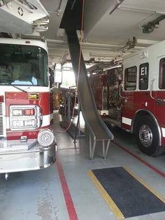 A slide instead of a fireman's pole.