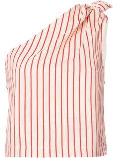 Shop Rosie Assoulin one shoulder striped blouse.