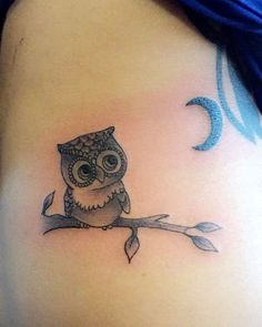 Owl Tattoo Inked On Side Stomach