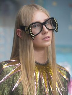 Inverted cat-eye frames with mother of pearl details from Gucci's Spring Summer 2017 eyewear collection seen in the new  film by Petra Collins.