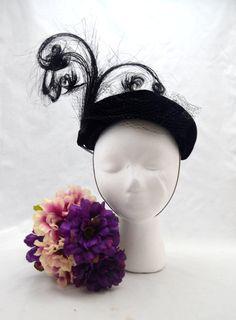 Vintage Caspar Davis Fascinator Hat Black Velour by UpswingVintage