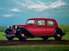 Realistic acrylic painting of the French Citroen Traction Avant, painted by the Dutch fine artist Paul Meijering - the Original painting is 120 x 90 cm and for sale