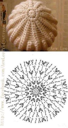 Exceptional Stitches Make a Crochet Hat Ideas. Extraordinary Stitches Make a Crochet Hat Ideas. Crochet Beret Pattern, Bonnet Crochet, Crochet Beanie Hat, Beanie Pattern, Crochet Diagram, Crochet Chart, Free Crochet, Knitted Hats, Crochet Patterns