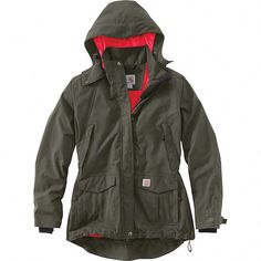 With the Carhartt® Shoreline Jacket, you don't have to let Mother Nature plan your day. This Carhartt hooded rain jacket is made with a highly breathable Storm Defender® waterproof membrane, mesh. Work Jackets, Jackets For Women, Clothes For Women, Work Clothes, Womens Hunting Clothes, Black Jackets, Women's Jackets, Casual Skirt Outfits, Winter Outfits