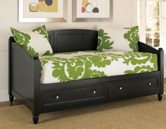 I event like that bedding on this one!    Home Styles 5531-85 Bedford Daybed with Storage, Black Finish by Home Styles, http://www.amazon.com/dp/B005H6W1Z4/ref=cm_sw_r_pi_dp_Ag0Eqb0F3HDNJ