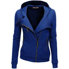Doublju Women's Fleece Zip-Up High Neck Jacket ($36) ❤ liked on Polyvore featuring outerwear, jackets, coats, coats & jackets and hoodies