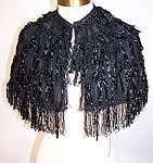 Victorian Vintage Black Silk Chenille Fringe Short Cropped Cloak Cape Capelet