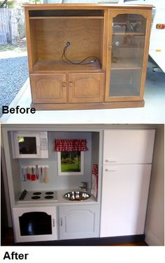 Old TV cabinet into Kid's play kitchen.
