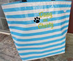 Sky Blue Stripe oilcloth tote for Grandpuppies!
