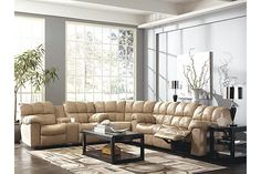 The Max 3-Piece Sectional from Ashley Furniture HomeStore (AFHS.com). Leather Match upholstery features top-grain leather in the seating areas with skillfully matched vinyl everywhere else.