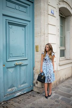 Lela Rose dress, Chanel flats and Dior bag