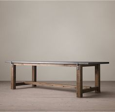RH's Reclaimed Wood & Zinc-Top Strap Rectangular Dining Table:A well-chosen combination of old and new, our handcrafted table pairs reclaimed timbers with a zinc metal-sheet top and the clean lines of contemporary design.