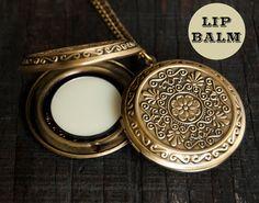 Lip Balm Locket Necklace  - Victorian Gold Brass - Choose Your Flavor - 2g