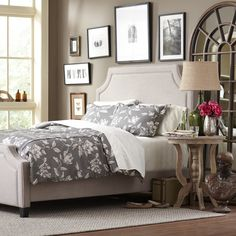 Birch Lane Parker Bed, Stone - Romantic and cozy, the Parker bed set is a comfortable favorite. An upholstered headboard and footboard are covered in luxurious, parchment-colored linen and bordered in a corded edge seam. Available in queen and king sizes.