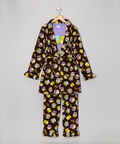 Take a look at this Brown Passion Sleepy Owl Robe Set - Infant, Toddler & Girls on zulily today!