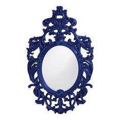 Tyler Dillon Dorsiere 31-In X 51-In Royal Blue Framed Oval French Wall Mirror Atg12053296