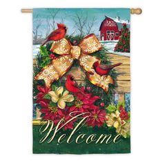 Evergreen Flag Cardinal Wreath on Fence House Flag - 13S3959
