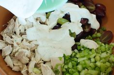 pioneer woman chicken salad.  love this recipe, especially with cilantro... and i'm a picky chicken salad eater.