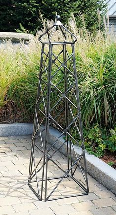 "Wrouoght Iron Outdoor Lattice Garden Obelisk / Trellis Yard Decor -Graphite 67""T"