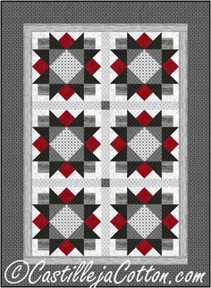 Star Flowers Lap Quilt Pattern CJC-5089 This pieced lap quilt pattern would be great for any man in your life.