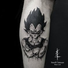 Vegetta by Smolll Tattooer (@ smollltattooer) #tattoo #tattoos #tatouages #tatouage #ink #inked #blackwork #blackworker #blackworkers #lyon #france #darktattoo #occult #horns #blackhorns #blackworkerssubmission #darkartists #dbz #blxckink #dragonball #vegeta #dragonballz
