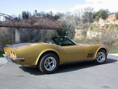 1971 Convertible Corvette for sale in CA. LS5 454/365 HP,  4-speed manual, 79,000 miles. War Bonnet Yellow with Black Interior and American Racing Torq-Thrust wheels.