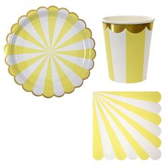 Bring on the sunshine with this yellow and white stripe themed petite party package. All pieces include a beautifully decorated scallop edge while the plates and cups have a pop of gold to make your decor special. Perfect to stock up on for a summer party! $14.99 for the package found at yellowpinwheels.com
