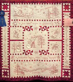 River City Quilt Guild – Day 4 ('Tis the Season!) Quilt Inspiration: River City Quilt Guild – Day 4 ('Tis the Season! Folk Embroidery, Christmas Embroidery, Embroidery Patterns, Quilt Patterns, Vintage Embroidery, Red Work Embroidery, Machine Embroidery Quilts, Christmas Applique, Quilting Projects