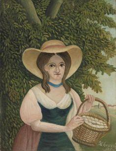 Woman with Basket of Eggs (La Femme au panier d'œufs): 1905–1910 by Henri Rousseau (The Barnes Foundation, Philadelphia, PA) - Post Impressionism -  Naive/Primitive