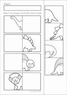 Dinosaur Preschool Math and Literacy No Prep worksheets and activities. A page from the unit: heads and tails match cut and paste