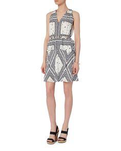 Derek Lam 10 Crosby EXCLUSIVE Grommet Detail V Neck Print Dress