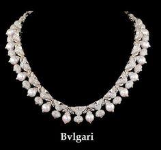 BULGARI Diamond & Pearl Necklace - Yafa Jewelry